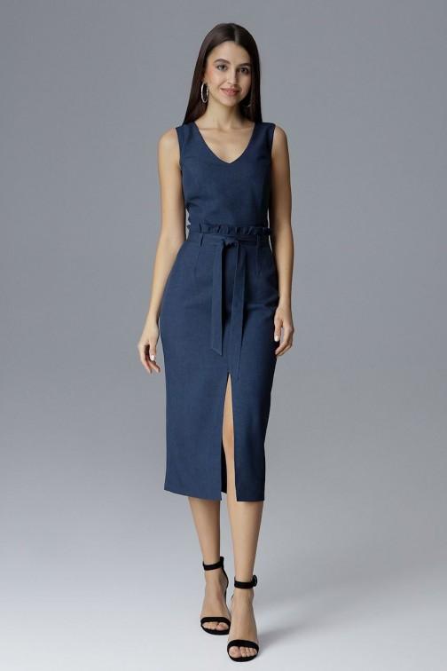 CM4078 Dopasowana sukienka bez rękawów - granatowa