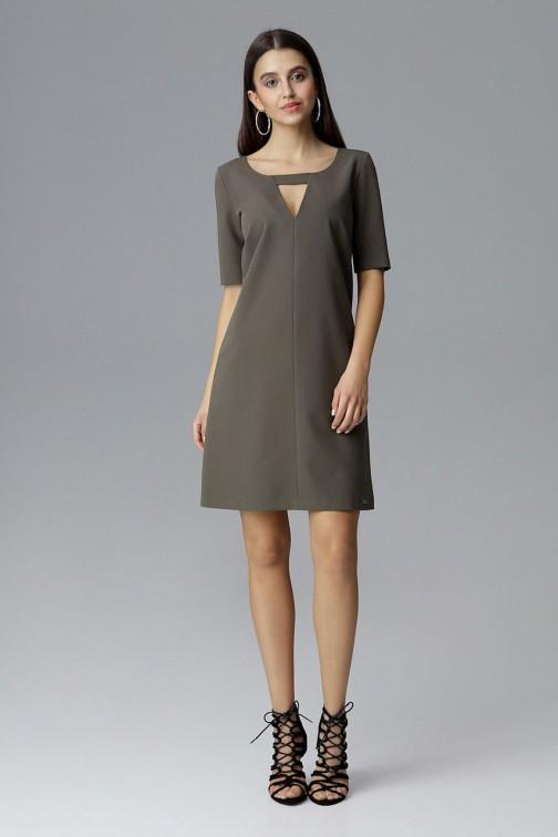 CM4079 Krótka sukienka z rękawem 3/4 - oliwkowa