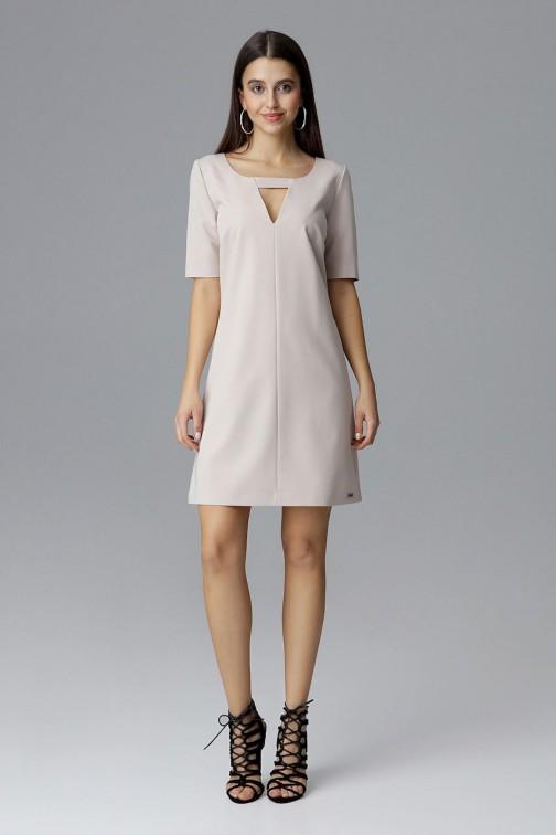 CM4079 Krótka sukienka z rękawem 3/4 - beżowa
