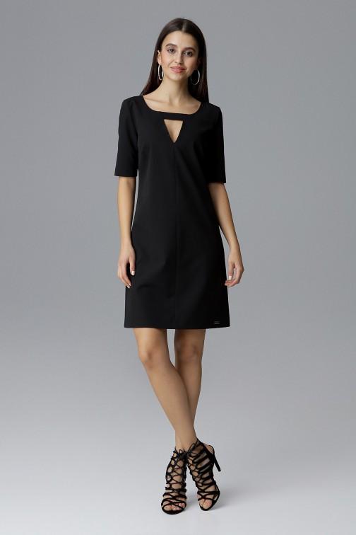 CM4079 Krótka sukienka z rękawem 3/4 - czarna