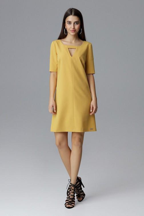 CM4079 Krótka sukienka z rękawem 3/4 - musztardowa