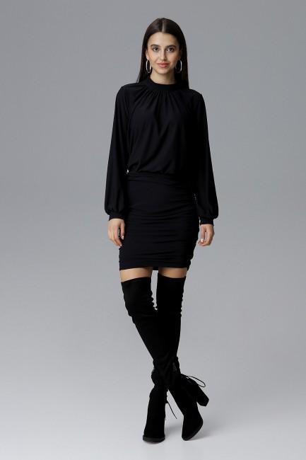 Sukienka mini z marszczeniami - czarna