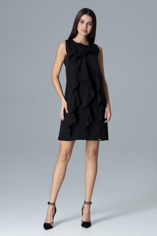 CM4082 Trapezowa sukienka bez rękawów z falbanami - czarna