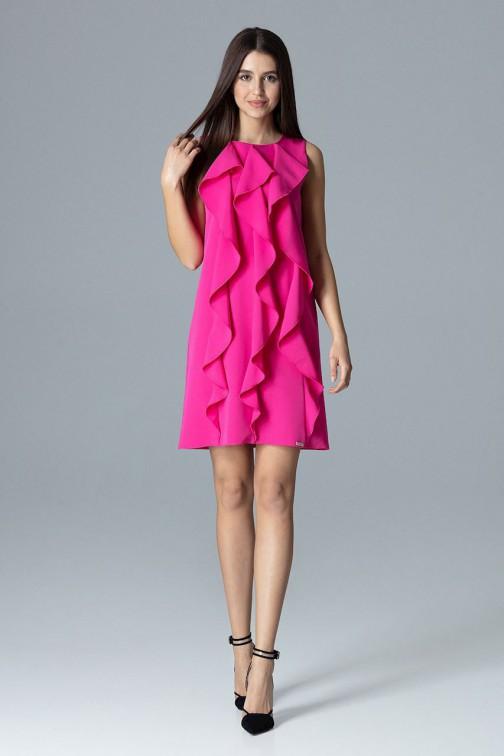 CM4082 Trapezowa sukienka bez rękawów z falbanami - fuksja