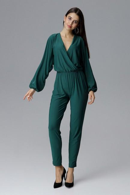 Kombinezon ze zwężanymi nogawkami - zielony