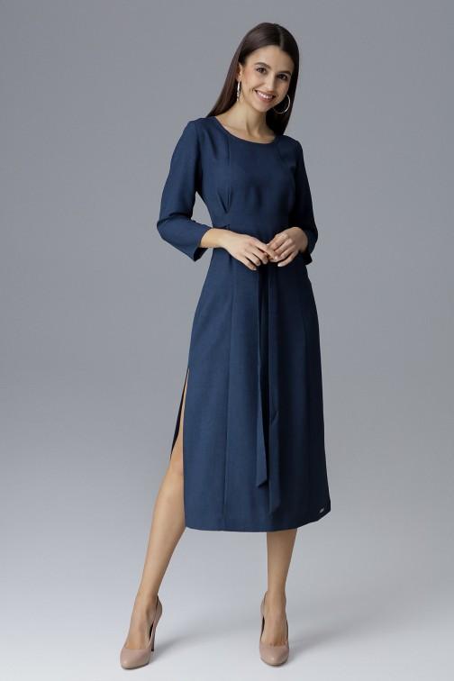 CM4085 Sukienka za kolano z rękawem 3/4 - granatowa