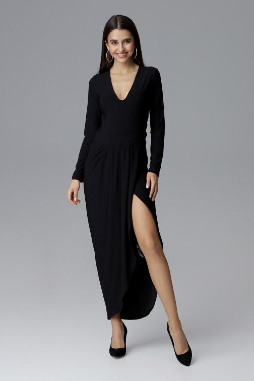 CM4086 Sukienka maxi z rozcięciem - czarna