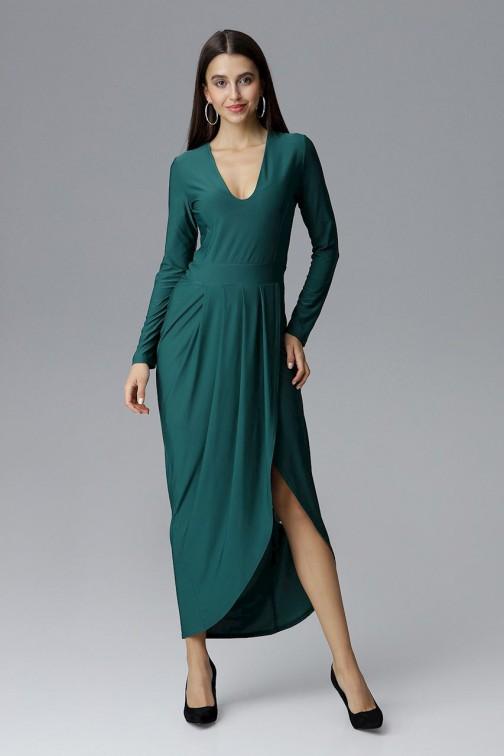 CM4086 Sukienka maxi z rozcięciem - zielona