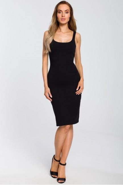 Elastyczna sukienka na ramiączkach - czarna