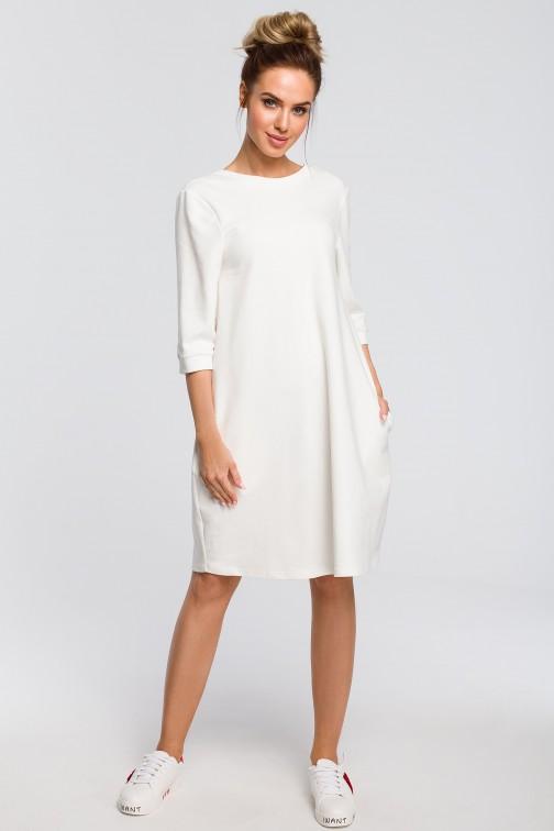CM4098 Dresowa sukienka z dekoltem na plecach - ecru