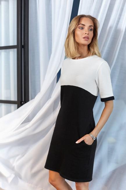 Wygodna dwukolorowa sukienka - czarno-ecru