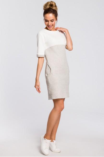 Wygodna dwukolorowa sukienka - popielata