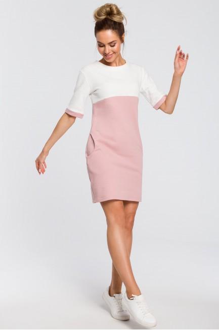 Wygodna dwukolorowa sukienka - pudrowa