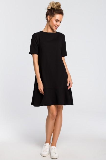 Luźna sukienka z wiązaniem na plecach - czarna