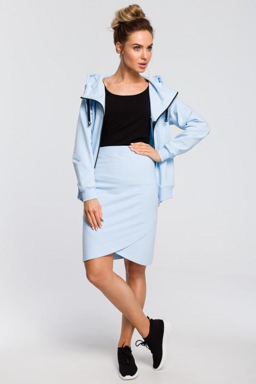 Dopasowana kopertowa spódniczka - błękitna