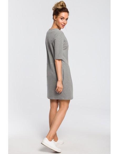 Prosta sukienka z kokardką na ramieniu - szara