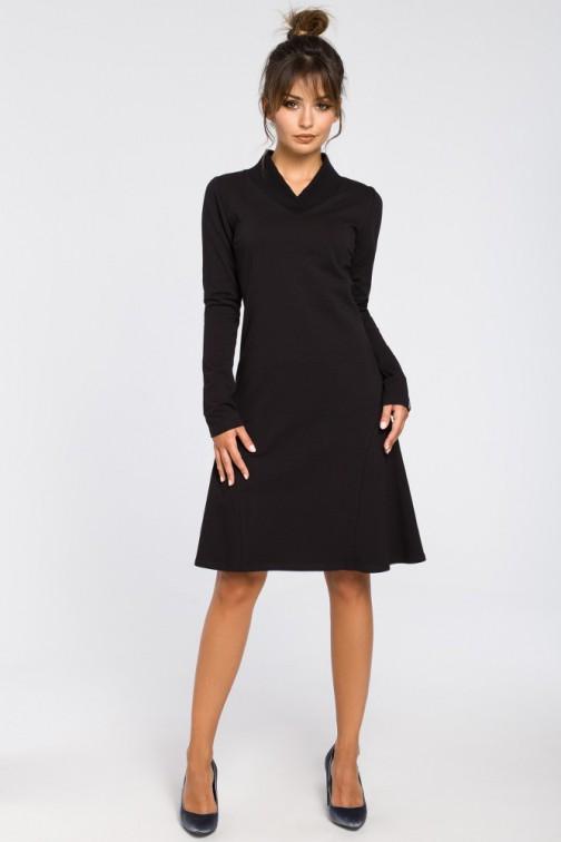 CM3182 Sukienka z klinami i wstawkami ze ściągacza - czarna