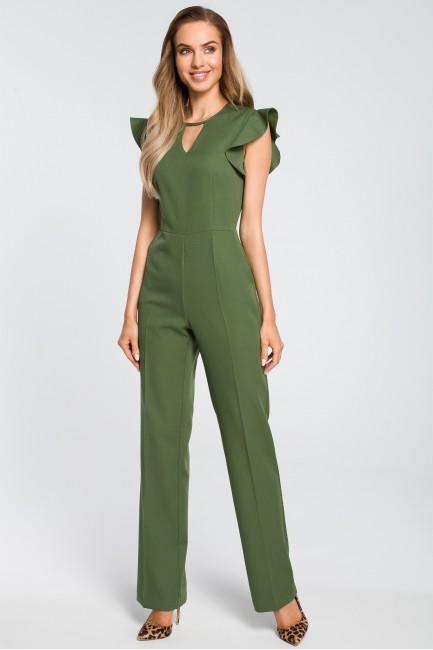 Elegancki kombinezon z falbankami - zielony