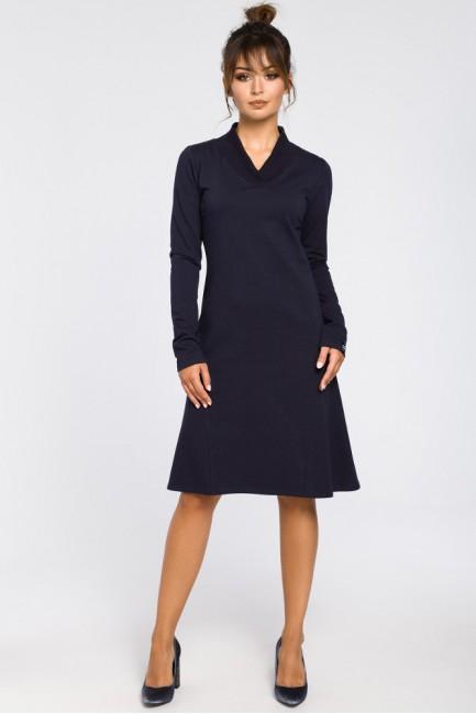 Sukienka z klinami i wstawkami ze ściągacza - granatowa