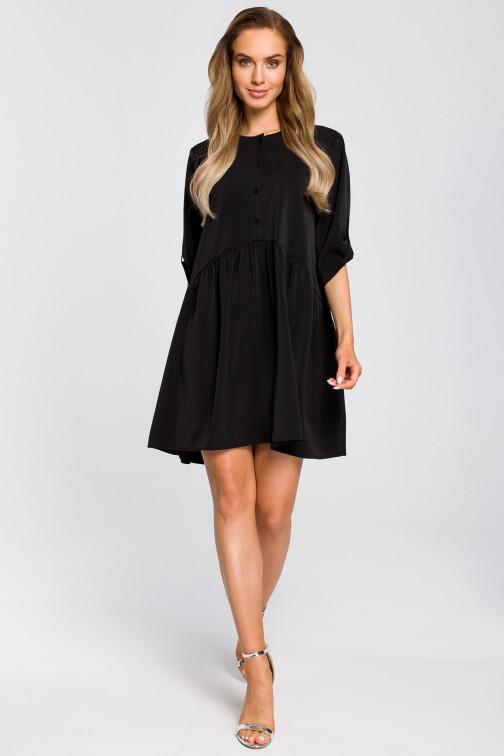 CM4108 Luźna sukienka rozkloszowana - czarna