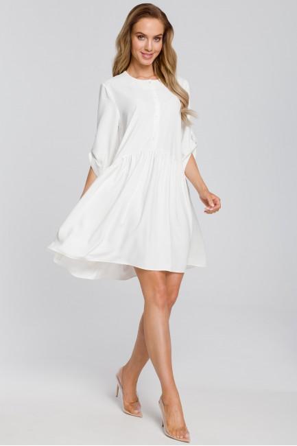 Luźna sukienka rozkloszowana - ecru