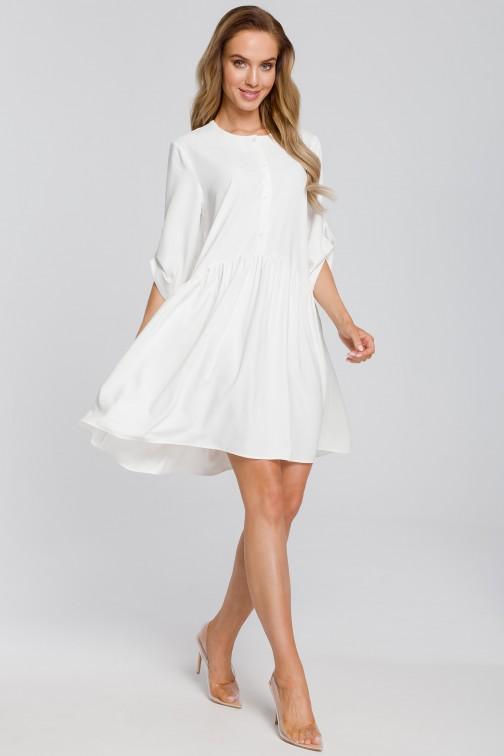 CM4108 Luźna sukienka rozkloszowana - ecru