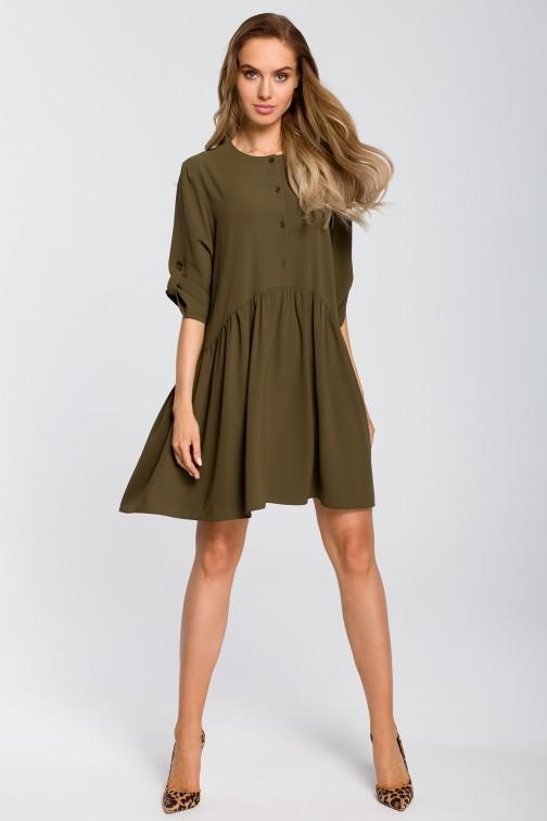 CM4108 Luźna sukienka rozkloszowana - khaki