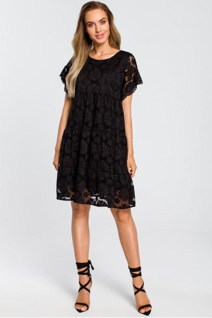 Zwiewna koronkowa sukienka - czarna