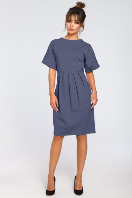 Dresowa sukienka z zakładkami - niebieska