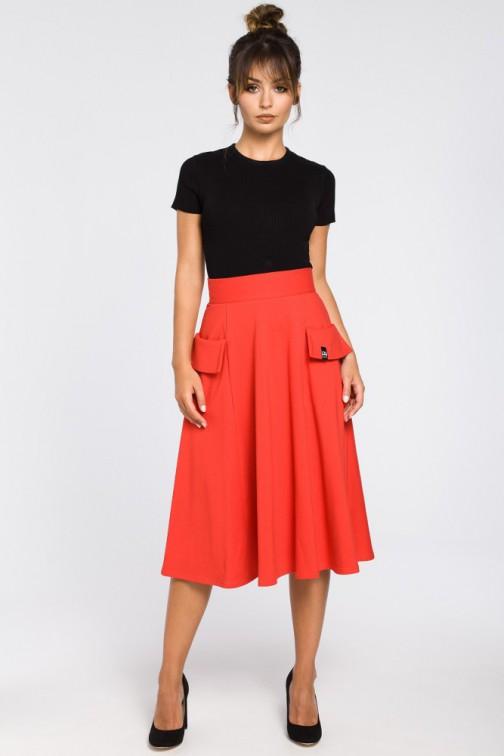 CM3184 Rozkloszowana spódnica midi z kieszeniami - czerwona