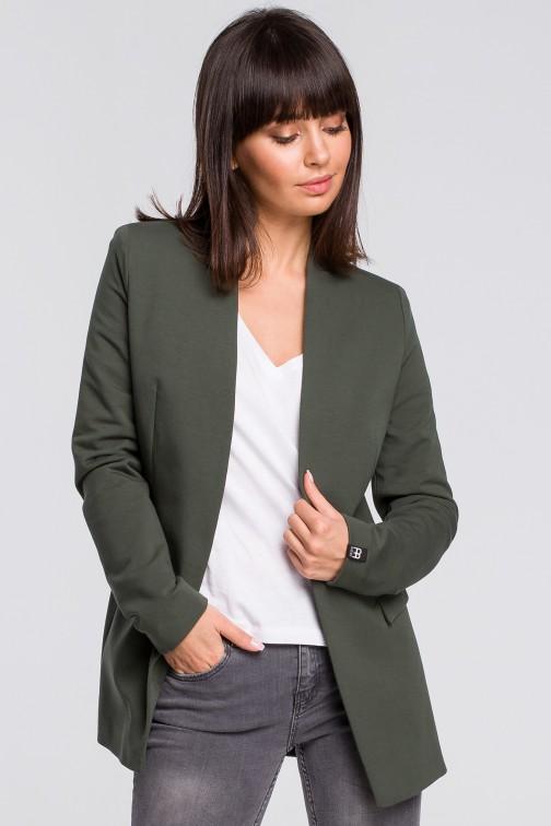 Żakiet dzianinowy plus size bez zapięcia - militarno-zielony