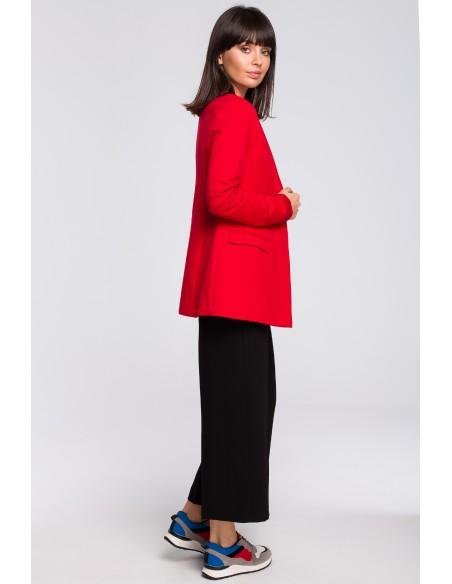 Żakiet dzianinowy plus size bez zapięcia - czerwony