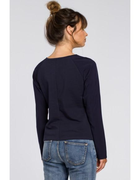 Elegancka dzianinowa bluzka damska - granatowa