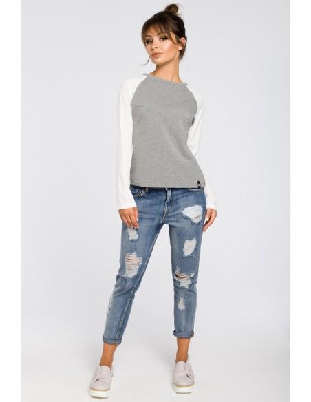 Elegancka dzianinowa bluzka damska - szara