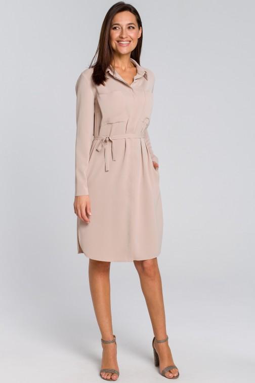 CM4133 Sukienka koszulowa z kieszeniami i paskiem - beżowa