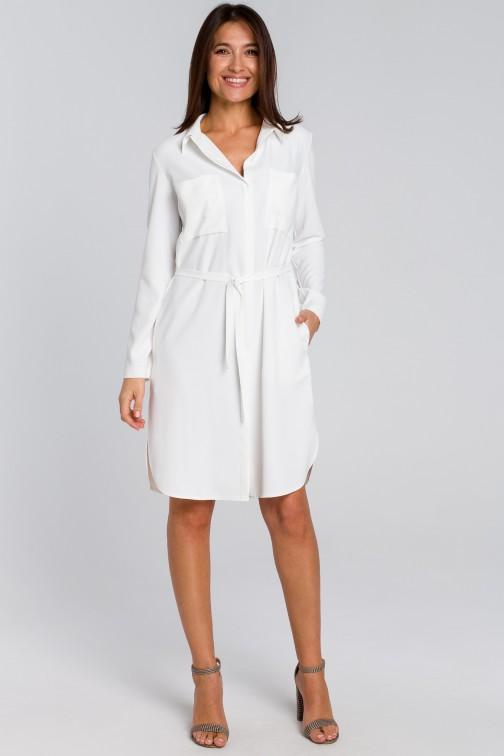 CM4133 Sukienka koszulowa z kieszeniami i paskiem - ecru