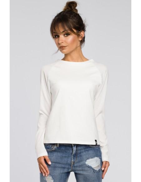 Elegancka dzianinowa bluzka damska - ecru