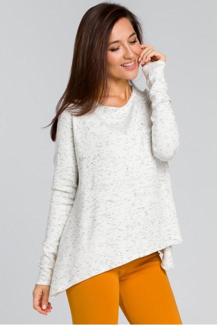 Luźny asymetryczny sweter - ecru