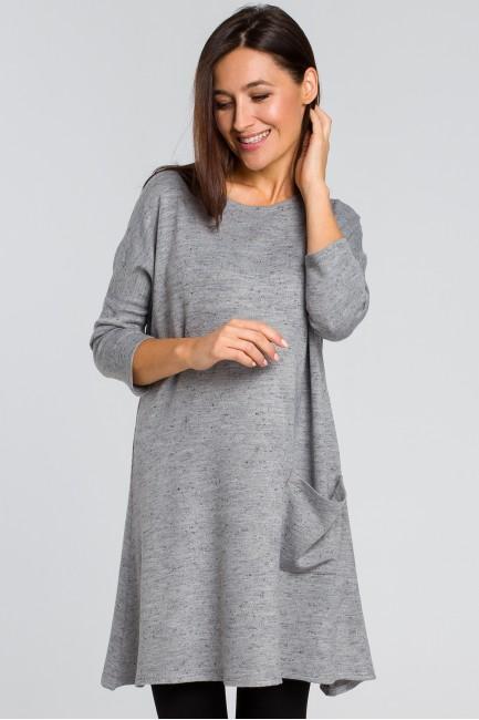Dzianinowa tunika swetrowa - szara