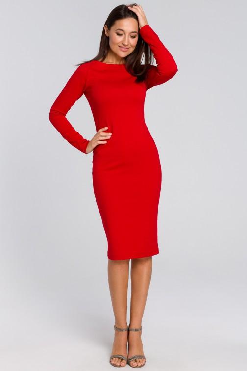 CM4140 Dopasowana sukienka ołówkowa - czerwona