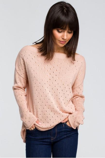 CM4146 Sweter z oczkami -...