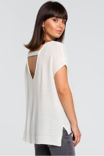 Sweter z dekoltem na plecach - ecru