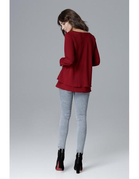 Luźna bluzka damska z falbanką - bordowa