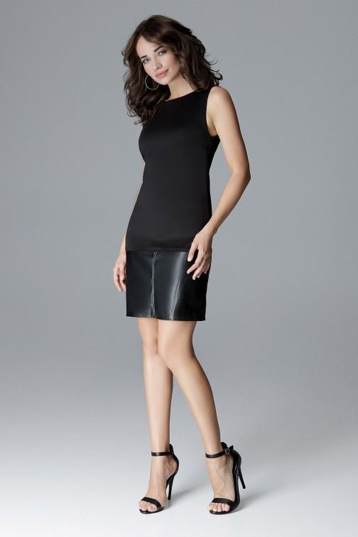 CM4162 Prosta sukienka ekoskóra - czarna