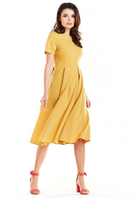 Rozkloszowana sukienka w kontrafałdy - żółta