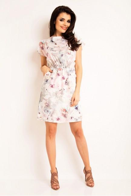 Nowoczesna sukienka z szerokimi rękawami - jasne kwiaty
