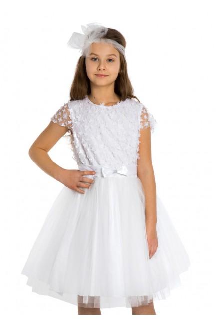 Dziewczęca sukienka tiulowa - śmietankowa-biel