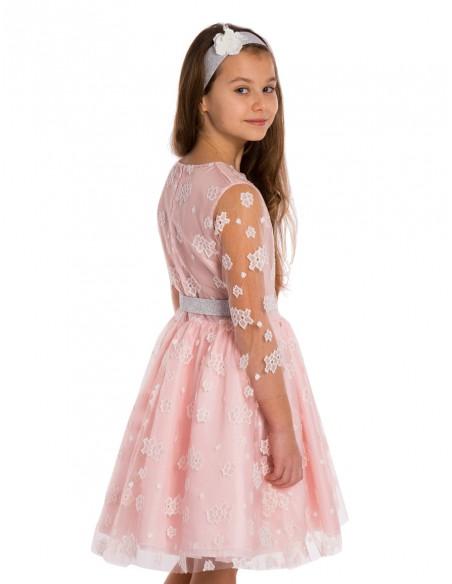 Dziecięca sukienka z koronką - pudrowy róż