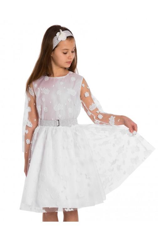 Dziecięca sukienka z koronką - śmietankowa-biel