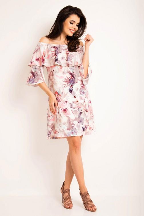 CM3196 Stylowa sukienka z odsłoniętymi ramionami - ciemne kwiaty